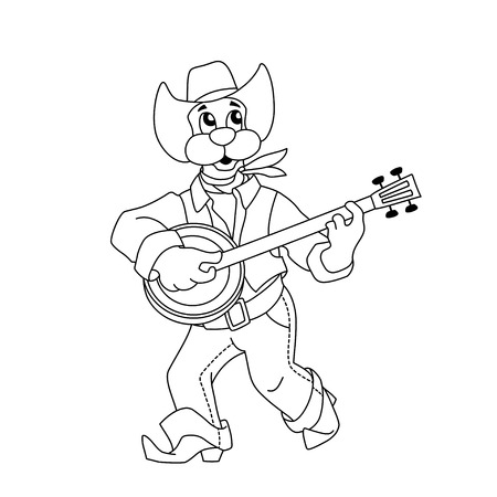 instrumentalist: Funny dog in blue jeans and hat plays banjo. Cartoon outline illustration of animal character for coloring book.
