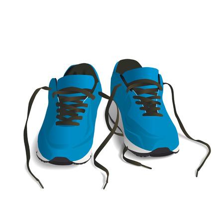 zapato: Los zapatos deportivos azules. Ejecución de zapato, zapatilla de deporte aislado en el fondo blanco
