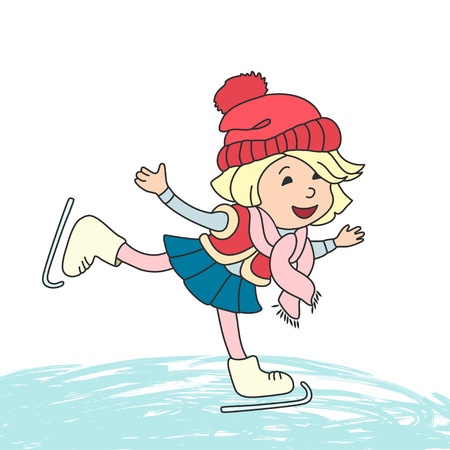 ice: Girl skating on ice. Vector cartoon characters for greeting card, children book and winter design