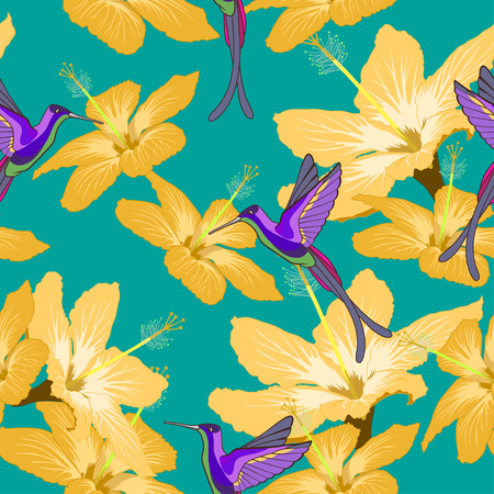 Seamless pattern with hibiscus flowers and hummingbird on green background. Can be used for wallpaper, wrapping paper, decorating of textiles, web background