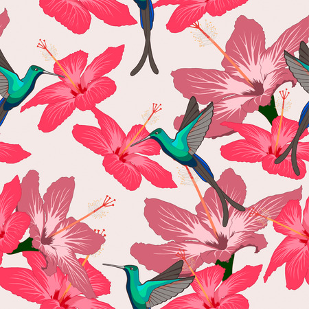 hummingbird: Seamless pattern with hibiscus flowers and hummingbird on light background. Can be used for wallpaper, wrapping paper, decorating of textiles, web background