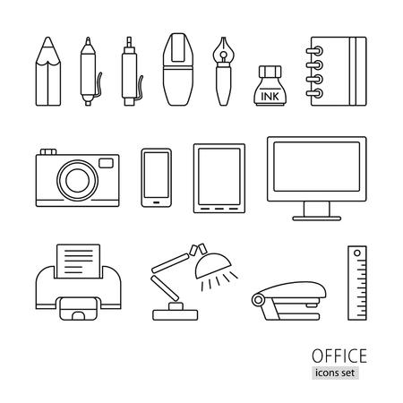 lamp outline: Outline icon set. Office supplies, printer, lamp, pen, pencil, computer, phone, stapler
