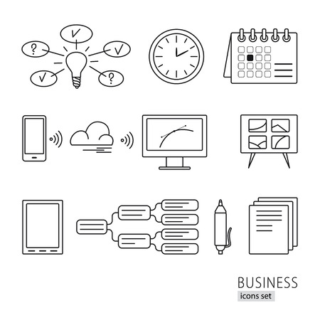 presentation board: Collection of line style business icons, including computer, idea, search, time, creative, phone, tablet, pen, presentation board