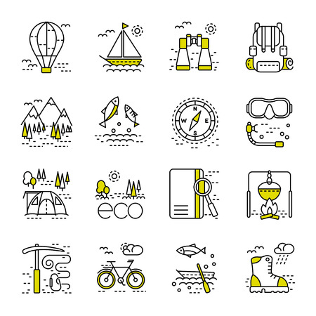 eco tourism: Eco tourism icons set on white background. Collection of modern line style design element. illustration, can be used for web page, banner, infographics