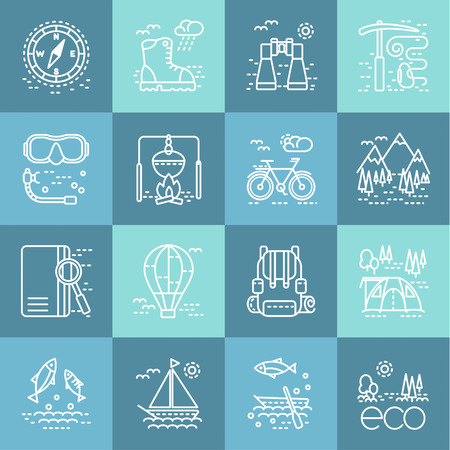 pocket book: Eco tourism icons on various tint of blue square. Collection of line style design element. Can be used for web page,  infographics
