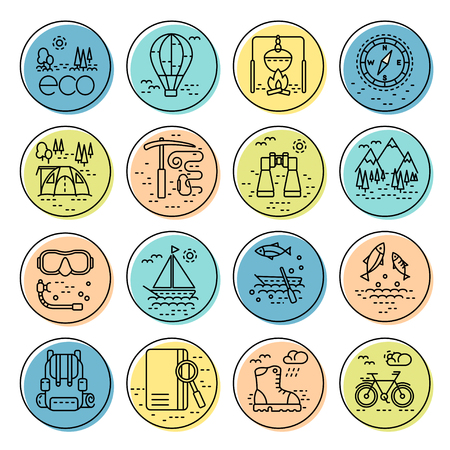pocket book: Collection of line style eco tourism icons on colorful circles. illustration. Can be used for web page,  infographics