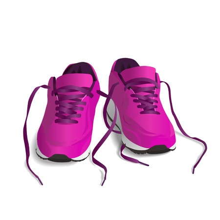 outworn: Pink Sport shoes. Running shoe, sneaker isolated on white background