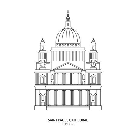 Cattedrale di St. Paul, a Londra punto di riferimento Illustrazione. elemento di design Outline per il sito web del turismo sfondo Vettoriali