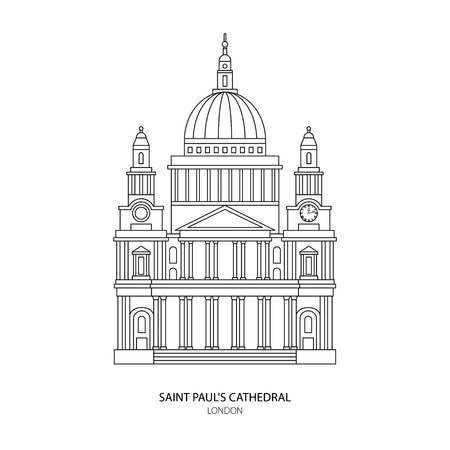 St. Pauls Cathedral, London landmark Illustration. Outline design element for tourism website background