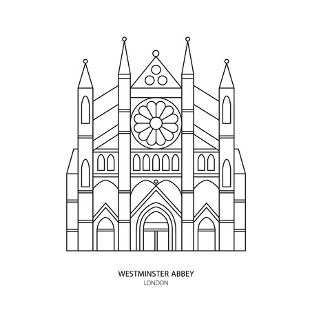 Westminster Abbey, London landmark illustration. Outline design element for tourism website background