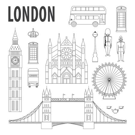monuments de Londres, des éléments de conception dans un style moderne et linéaire. Voyage et tourisme fond
