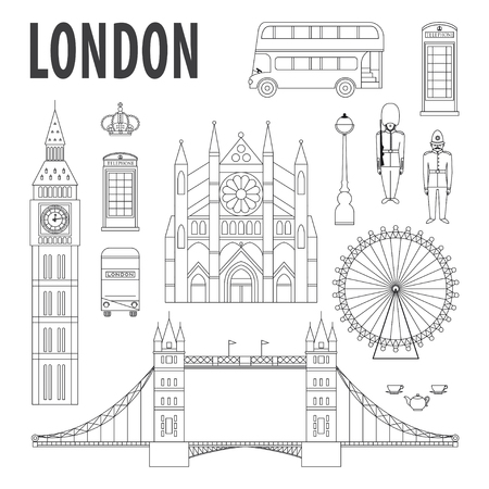 London landmarks, design elements in modern linear style. Travel and tourism background Illustration