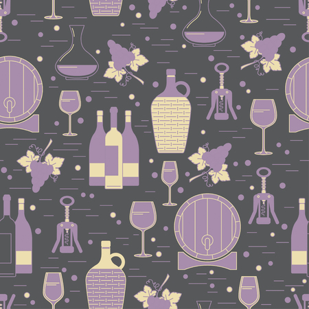 Winemaking seamless pattern on grey background. Can be used for wallpaper, poster design, wrapping paper, surface texture, web backgrounds, print on textile and covers