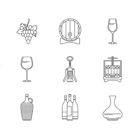 winepress: Winemaking icons set on white background. Collection of modern line style design element. illustration, can be used for web page, banner, info graphics Illustration