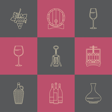 demijohn: Winemaking icons on colorful square. Collection of line style design element. Can be used for web page,  info-graphics