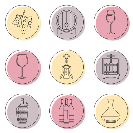 demijohn: Collection of line style winemaking icons on colorful circles. illustration. Can be used for web page,info graphics Illustration