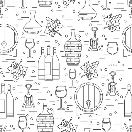 barrel tile: Seamless pattern with winemaking design element on white background. Can be used for wallpaper, poster design, wrapping paper, surface texture, web backgrounds, print on textile and covers