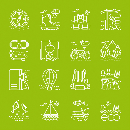 eco tourism: Eco tourism icons set on green background. Collection of line style design element. Can be used for web page, banner, infographics