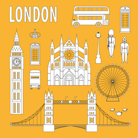 London landmarks, design elements in modern linear style. Travel and tourism vector background Illustration
