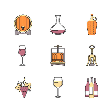 Winemaking icons set on white background. Collection of modern flat style design element. Vector illustration, can be used for web page, banner, info graphics
