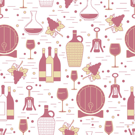 Seamless pattern with winemaking design element on white background. Can be used for wallpaper, poster design, wrapping paper, surface texture, web backgrounds, print on textile and covers