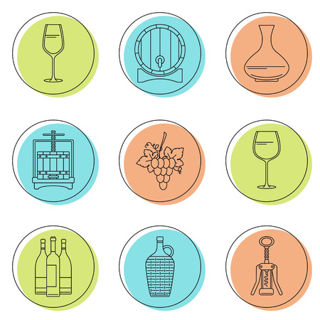 Collection of line style winemaking icons on colorful circles. Vector illustration. Can be used for web page, banner, info graphics Illustration