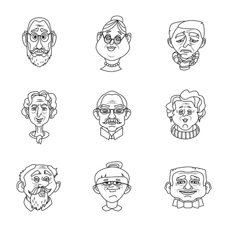pictogram people: Face of elder people icons. Pensioner head collection. Unique line style vector Illustration