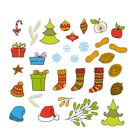 Colorful collection of Christmas and New Year hand drawn clipart. Vector holiday design elements for greeting card, invitation, pattern