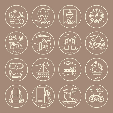 eco tourism: Collection of line style eco tourism icons on grey background. Vector illustration. Can be used for web page, banner, infographics