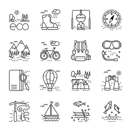 eco tourism: Eco tourism icons set on white background. Collection of modern line style design element. Vector illustration, can be used for web page, banner, infographics