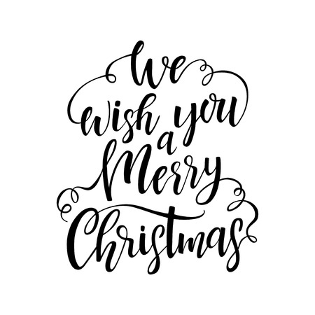 Hand Drawn Lettering We Wish You A Merry Christmas Vector Design Element For Greeting Card