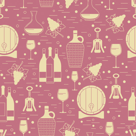 Winemaking design element on maroon background. Vector seamless pattern. Can be used for wallpaper, poster design, wrapping paper, surface texture, web backgrounds, print on textile and covers Illustration