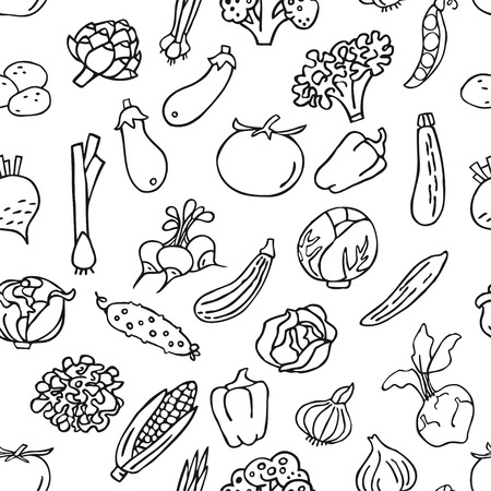 Seamless pattern with hand drawn vegetables. Perfect organic food pattern in line style, can use for wrapping paper, bioproducts wallpaper, organic background