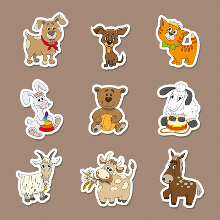 Set of vector cute animals stickers. Perfect design elements for children book, banners, leaflet Illustration