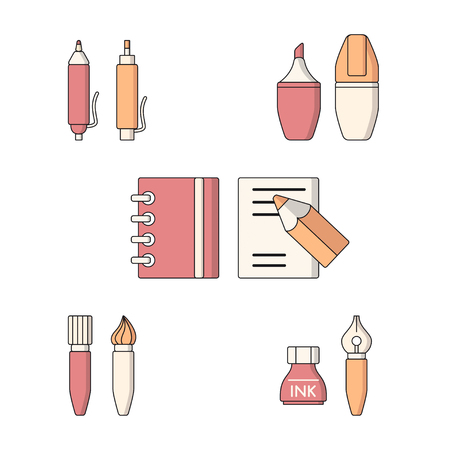 pen and marker: Vector collection of drawing and writing tools. Flat style.
