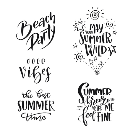 Set of Summer hand drawn brush letterings. Handwritten calligraphy design – beach party, may your summer be wild, the best summer time, good vibes, summer breeze make me feel fine. Print for T-shirt, poster, greeting cards Illusztráció