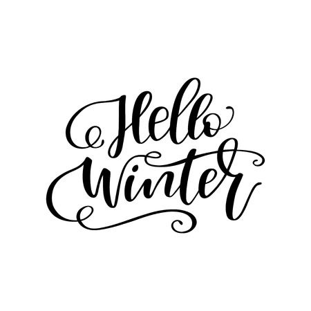 Hand drawn winter lettering Hello winter. Handwritten calligraphy design. Print for T-shirt, poster, greeting cards. Vector illustration Ilustrace