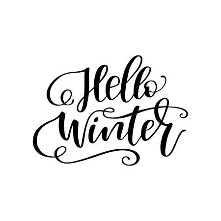 """Mão desenhada inverno letras """"Olá inverno"""". Caligrafia manuscrita design. Imprimir para t-shirt, cartaz, cartões de felicitações. Ilustração vetorial Ilustración de vector"""