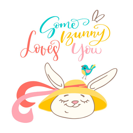 Some bunny loves you, handwritten text, and cute Easter bunny. Vector design elements for invitation, banner, and postcard