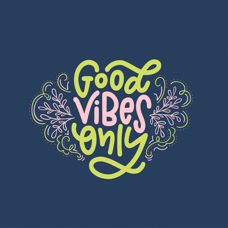 Lettering composition of Good Vibes Only. Handwritten calligraphy design. Imagens - 99519458