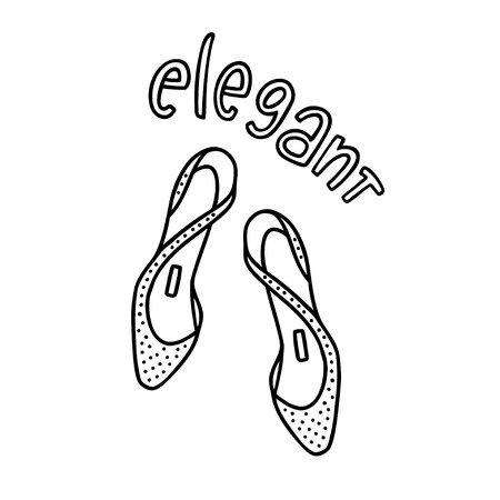 Pair of ladys shoes with a handwritten word Elegant. Hand drawn outline and stroke. Vector illustration can be used to design a poster, decorate a shoe store 向量圖像