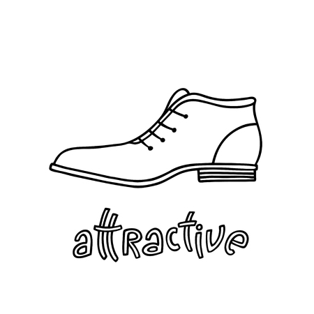 Elegant shoe for men with a handwritten word Attractive. Hand drawn outline and stroke. Vector illustration can be used for poster design, decorate a shoe store