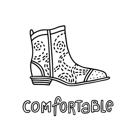 Cowboy style shoe with a handwritten word Comfortable. Hand drawn outline and stroke. Vector illustration can be used for poster design, decorate a shoe store