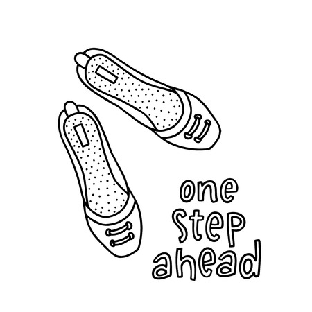 Pair shoes for girl and woman with a handwritten word One Step Ahead. Hand drawn outline and stroke. Vector illustration can be used to design a poster, decorate a shoe store 向量圖像