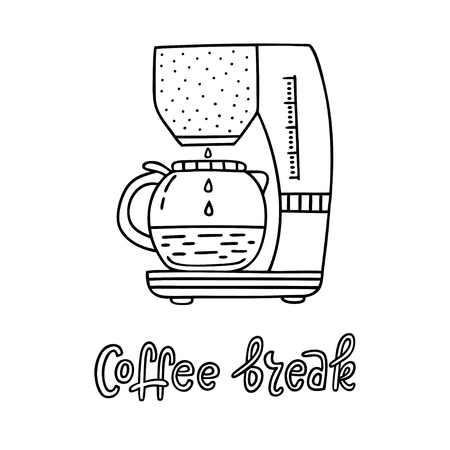 Hand drawn coffee maker with handwritten phrase Coffee Break. Can be used for coffee break poster, card, leaflet. Vector illustration
