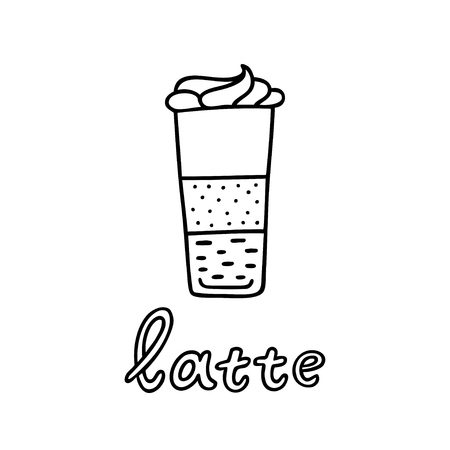 Hand drawn glass of latte with handwritten phrase Latte. Can be used for coffee break poster, card, leaflet. Vector illustration