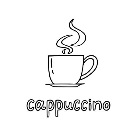 Hand drawn cup of cappuccino with handwritten phrase Cappuccino. Can be used for coffee break poster, card, leaflet. Vector illustration Ilustração