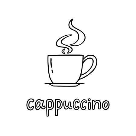 Tasse de cappuccino dessiné à la main avec une phrase manuscrite Cappuccino. Peut être utilisé pour l'affiche de la pause-café, la carte, le dépliant. Illustration vectorielle