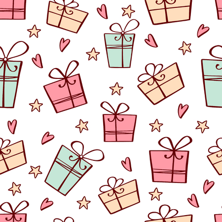 Vector seamless pattern with hand drawn gift boxes and stars. Perfect holiday background. Can be used for wrapping paper, web background, wallpaper 向量圖像