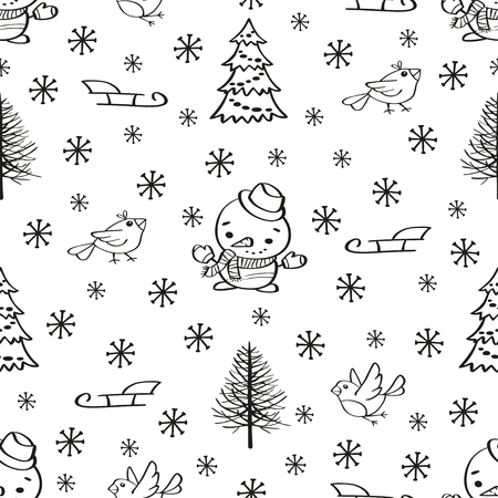 Winter holidays seamless background with Christmas tree and snowman. Can be used for wrapping paper, web background, wallpaper. Vector illustration
